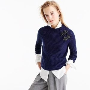 J.Crew Navy Ribbed Knit Wool Crew Neck Sweater